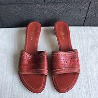 Cole Haan Women Red Leather Slip-on Open Toe Kitten Heel Sandal Size 8B