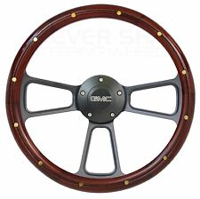 "14"" Mahogany Wood Steering Wheel, GMC Horn for 1948-1994 GMC Truck, Suburban"