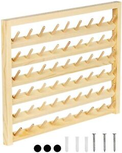 Wall Mounted 54-Spool Sewing Thread Rack Holder Wooden Organizer for Embroidery