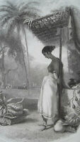 INDIA Hindu Maiden Fruit Seller - 1836 Antique Print Engraving W. Daniell