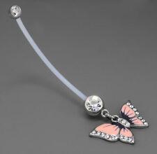 "14g 2"" PTFE Long Pregnancy Flexible Navel Ring Pink Gem Butterfly Dangle"