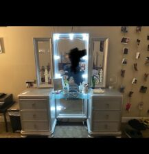 Vanity Table Lights Mirror 4 Drawers Makeup Dressing Desk with Stool Set Silver