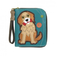 NEW CHALA TEAL BLUE GOLDEN RETRIEVER DOG ZIPPERED WALLET FAUX LEATHER