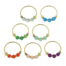 22G-8 mm Dia 9K Solid Yellow Gold Opal Stones Hoop Nose & Tagus Ring Per Piece