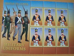 TRISTAN DA CUNHA,2007,MILITARY UNIFORMS, SHEET OF 6 X 20P VALS,U/M,CAT £12.