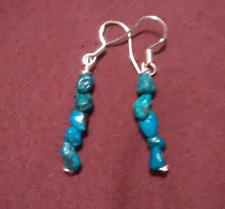 Genuine Turquoise pebble Earrings Sterling Silver Nickel hand wrapped