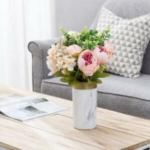 8-inch Marble Pattern Gold & White Ceramic Flower Vase/ Decor for Home & Office