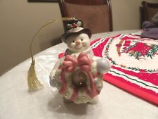 "Lenox Snowman Ornament hand crafted porcelain 3 1/2"" 2008 great condition"