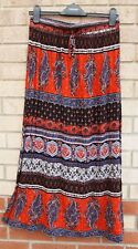 NEW LOOK CORAL BLACK PURPLE BAROQUE PAISLEY BELTED WRINKLE LONG MAXI SKIRT 8 S