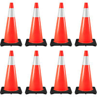 """8x28"""" Traffic Safety Parking Cones Reflective Collars For Higher Warning Roads"""