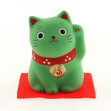 "Japanese 2-1/4""H Green Ceramic Maneki Neko Lucky Cat Academics Figurine Japan"