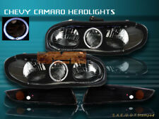 98-02 CHEVY CAMARO HEADLIGHTS HALO BLACK+ BUMPER 99 01