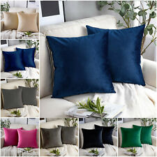 Pair of Crushed Velvet Cushion Covers 18 x 18 in Large Plain Plush Sofa Pillows