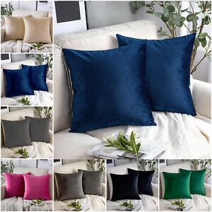 Pair of Crushed Velvet Cushion Covers 18 x 18 in Large Plain Plush Sofa Pillows
