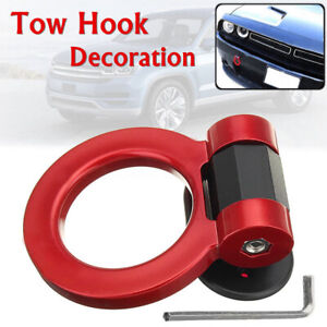 1-Piece Universal Car Red Ring Track Racing Tow Hook Look Decoration ABS Plastic