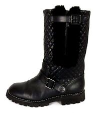 CHANEL Black Quilted Leather & Shearling Fleece Lined Motorcycle Boots 39