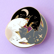 Cat Pin Badge Brooch Gift White Black Grey Trio Enamel Jewellery Cat Lover Lady