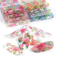 10 Pcs 20X4 cm Rose Flower Nail Foil Transfer Film Decal Manicure DIY
