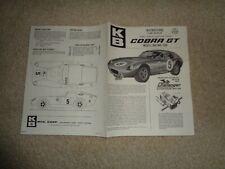Aurora K&B Slot Car Cobra GT 1/25 Scale Instruction Sheet - USED