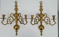 "Vintage Heavy Brass 2 Arm Colonial Style Heavy Wall Sconces 18"" Set of 2"