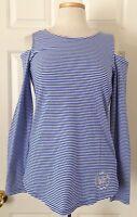 $80 NWT Womens Michael Kors MK Stud Logo Striped Open Shoulder Long Sleeve Shirt