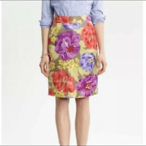 Banana Republic Womens Pencil Skirt Pink Green Linda Floral Business Size 4