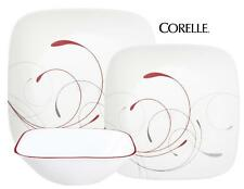 12-pc Corelle Square SPLENDOR Dinnerware Set RED GRAY Scoll ROMANTIC Revival NEW