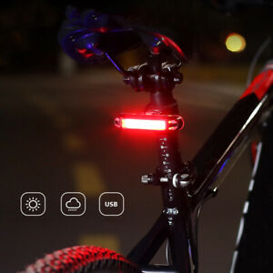 COB LED Bike Bicycle Cycling Front Rear Tail Light USB Rechargeable 6Mode Lamp 1