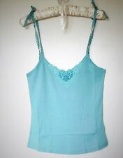 New Ex-Ted Baker Ribbed Cotton Women Vest Cami Crop Top Tie Straps Blue Size 6 8