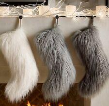Restoration Hardware Tibetan Faux Fur Stocking Ivory White NWT GORGEOUS!