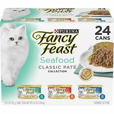 Premium Purina Fancy Feast Classic Pate (24) 3 oz. Cans, Seafood Variety Pack