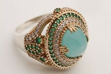Turkish Jewelry Oval Aquamarine Emerald Topaz 925 Sterling Silver Ring Size 10