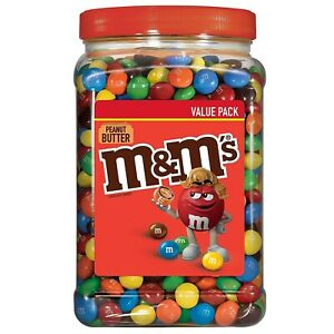 M&M'S Peanut Butter Chocolate Candy, Plastic Pantry Size Jar, 55 Oz