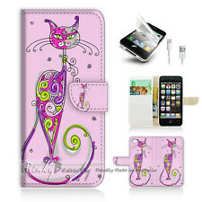 ( For iPhone 5 / 5S / SE ) Wallet Case Cover! Cute Pink Cat P0311
