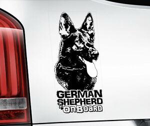 GERMAN SHEPHERD Sticker,  Alsatian GSD Dog Car Stickers Window Decal - V02B BLK