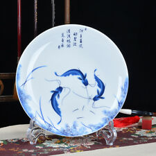 "8""  jingdezhen Hand painting Porcelain Blue & white plate fish"