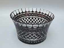 """HEAVY LEAD CRYSTAL CUT TO CLEAR BLACK GLASS SERVING BOWL - 4 1/4"""" TALL"""