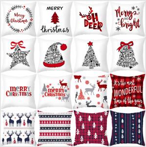 NEW 18'' Christmas Xmas Cushion Cover Pillow Case Room Sofa Home Decoration UK