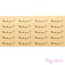 60 x Kraft Brown Thank You Flower Stickers Mini DIY Labels Wedding Favours