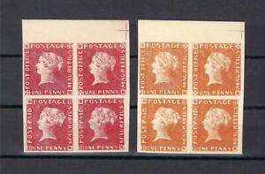 Mauritius 1848 red & orange proof 1p Queen Victoria blocks 4 MNH Private FORGERY