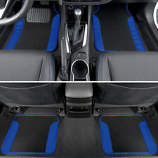 Blue Car Floor Mats 4 Pieces Set Carpet Rubber Backing All Weather Protection
