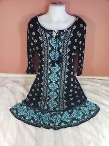 Justice Girls Slit Sleeve Black Aqua 3/4 Sleeve Sequin Tassle Crinkle Dress 10