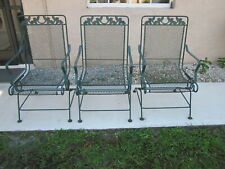 Vintage Russell Woodard Sculpture Wire Spring Recliner Patio Chairs Three