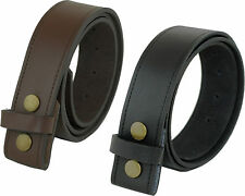 MENS REAL LEATHER PRESS STUD SNAP ON CLIP BELT STRAP BLACK BROWN OWN BUCKLE