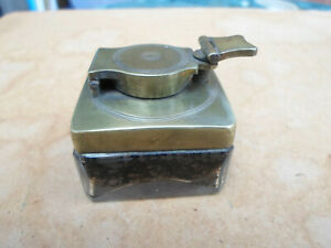 Antique Victorian Travel Brass Topped square Glass Inkwell.with Brass Lock Screw