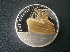 TITANIC COMMEMORATIVE GOLD AND SILVER PLATED COIN , 40MM