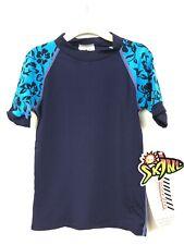 Kids Rash Guard Top Size 4 SPF 100 Radicool Skins Hawaiian Short Sleeve Blue