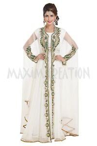 MODERN ABAYA FANCY LONG SLEEVE BRIDAL FARASHA ARABIC ISLAMIC TAKSHITA DRESS 6586