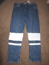 BNWT 12 Topshop Jeans W30 L36 TALL Hayden Loose Fit Boyfriend White Stripes Blue