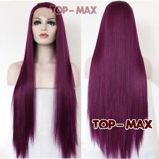 70cm Straight Heat Resistant Mixed Purple Women Ladies Lace Front Wig + Cap